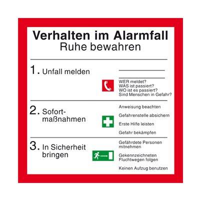 """Betriebsaushang - Aushang - Brandschutzzeichen """" Verhalten im Alarmfall """" Folie"""