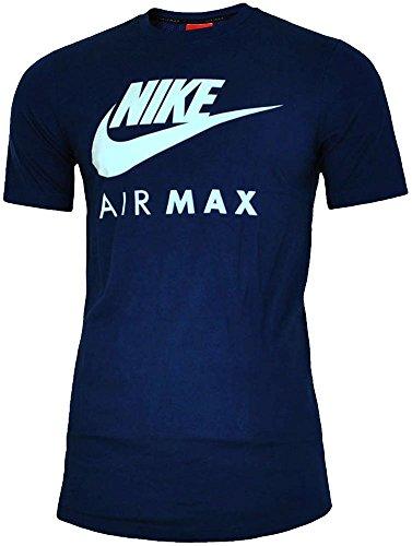 NEU Nike Herren Markenzeichen Designer Fitness Gym Rundhals Air Max T-shirt S-2XL - Herren, Marine, XL (World Gym T-shirt)
