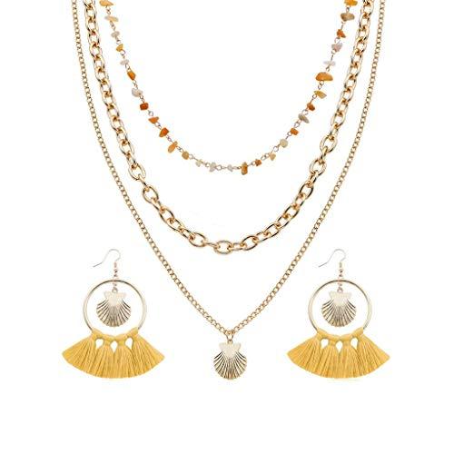 Morelyfish Mujeres Sistemas de la joyería del Rhinestone del Metal Colgante Concha de múltiples Capas Collar de la Borla de los Pendientes de Regalo