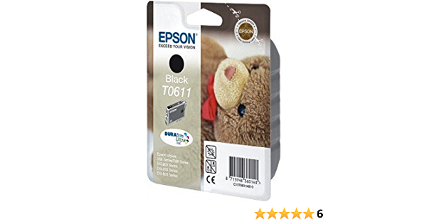 Epson Ink Cartridge For Epson T0611 1 X Black Elektronik