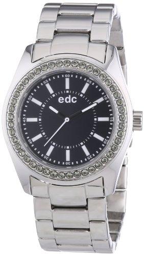 edc by Esprit disco glam steel EE101132002 - Reloj analógico de cuarzo para mujer, correa de acero inoxidable color plateado