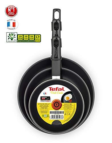 Tefal First Cook - Set de sartenes de Aluminio para Gas y Vitrocerámica,18/22/26 cm, Revestimiento...