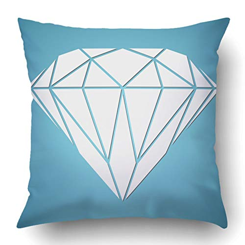 RAINNY Throw Pillow Covers Blue Bling Abstract Diamond White Value Graphic Origami Tattoo Salon Spa Drawing Polyester Square Hidden Zipper Decorative Pillowcase 20x20 inch Blue Diamond Bling
