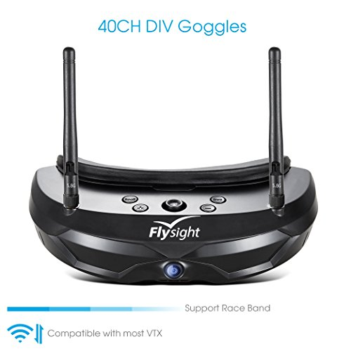 Flysight FPV Brille 5.8G Dual Antenna FPV Goggles 854x480 40CH Video Headset mit 1500mAh Battery für RC Drohne (SMA)