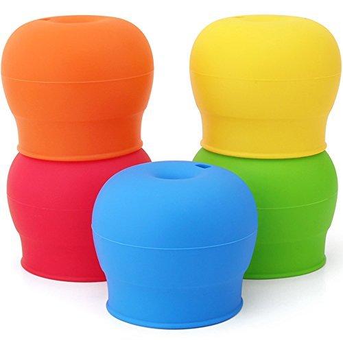 maxin Silikon-Sippy Deckel Packung von 5, Silikon-Auslauf Macht Becher in Spill-Proof Sippy Tasse für Babys und Kleinkinder FDA Genehmigt.