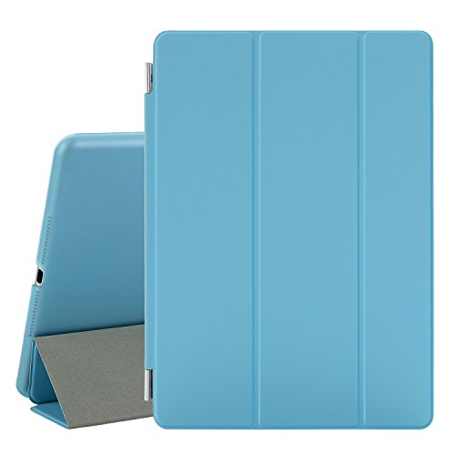 Besdata® iPad Air 2 Hülle - Ultra Dünn Edles Smart Cover Leder Case Schutz Hülle Tasche + Back Case für ipad air 2 ipad 6 - inkl. Displayschutzfolie Reinigungstuch Stift mit Multi Ständer Auto Sleep Wake (Blau, iPad Air 2)