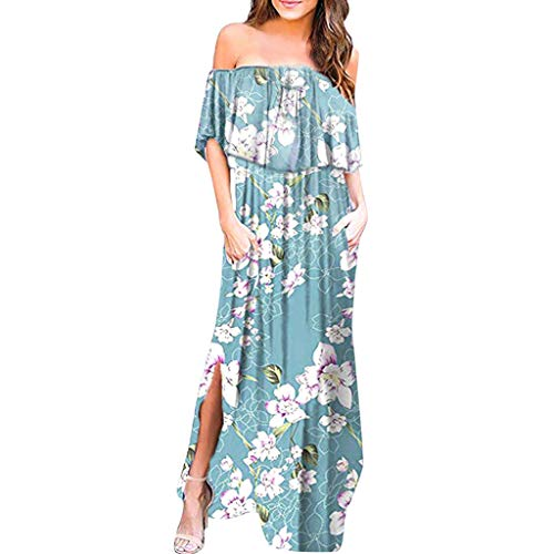 Zegeey Damen Kleid Sommer Kurzarm Schulterfrei Einfarbig Blumenkleid Maxi Kleid A-Linie Kleider Vintage Elegant LäSsige Kleidung Rundhals Basic Casual Strandkleider(X12-Hellblau,M) - Indian Kleidung Sexy