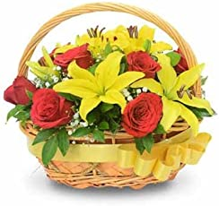 FloraZone Basket of Joy Basket Arrangement of Lilies and Roses Same Day Delivery