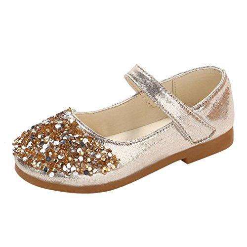 (QinMM Kinder Kleinkind Schuhe Infant Baby Mädchen Kristall Leder Einzelne Schuhe Party Prinzessin Schuhe Single Casual Sneaker Silber Gold Rosa 20 EU-29 EU (26 EU, Gold))