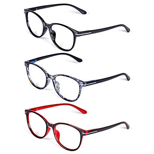 TOPSTARONLINE Lesebrillen unisex mode Flexibel Lesehilfe ovaler Rahmen Brille feder scharnier Lesebrille (+ 2,00, 3 Stück (Schwarz+Rot+Blau Blumen))