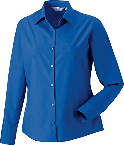 Neue Russel Women's Long Sleeve Shirt Poplin - 100% Baumwolle-Formal Office Arbeit Top Schwarz