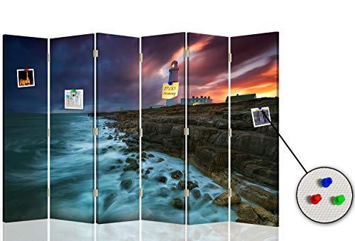 Feeby Biombo Tablero de Corcho Faro marítimo 6 Paneles 360° Mar Roca