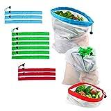Ebeta set di 12 sacchetti in tessuto di rete riutilizzabili, Sacchi ecologici lavabili Sacchetti riutilizzabili per la Riporre alimentari giocattoli verdura da frutta