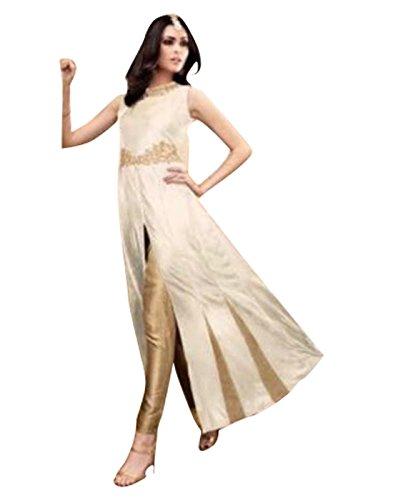 Alethia Enterprise Cream & Silver Colored Silk Embroidered Semi-Stitched Salwar Suit-ALK531DLC5076