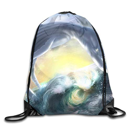 HRTSHRTE Merpeople Jump Lovely Sea Patterned Themed Printed Drawstring Bundle Book School Shopping Travel Back Bags Draw String Gym Backpack Bulk Girl Boy Women Men
