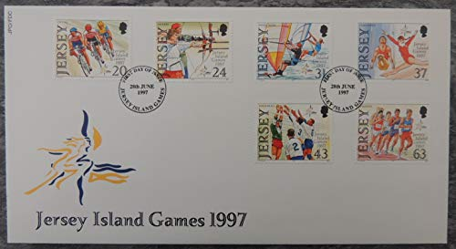 Jersey 1997 Island Games FDC 6 values (see scan, this is the cover you will receive) sport cycling archery windsurfing gymnastics volleyball running used mint JandRStamps