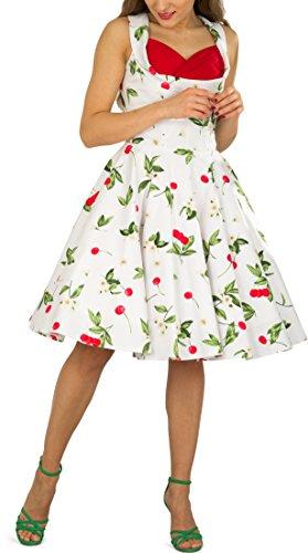 BlackButterfly 'Aura' Classic Joy Kleid im 50er-Jahre-Stil (Weiß Rot, EUR 44 - XL) -