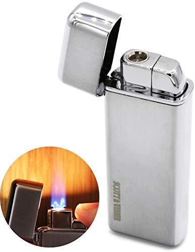 Scott & Webber - Feuerzeug Gas Sturmfeuerzeug Silber 100{176816aa4c7d7370c20bdf38cfb82edfba19dacbe56c70337c70916be4302e08} Metall mit windfester Jetflamme/Pfeife, Zigarette, Zigarre/Gasfeuerzeug / Nachfüllbar, Einstellbar/bis 1300°C #SMART #Easy #ELEGANT