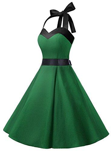 Dresstells Version3.0 Vintage 1950's Audrey Hepburn pin-up robe de soirée cocktail, style halter années 50 à pois Vert sans pois