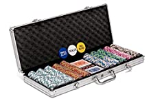 500 Piece Texas Holdem Poker Chips Set With LARGE Aluminium Case by Poker Night Pro. QUALITY Clay/Metal 14g Numbered Chips, 2 Decks Professional PLASTIC Playing Cards, Dealer/Blind Buttons and 5 Dice