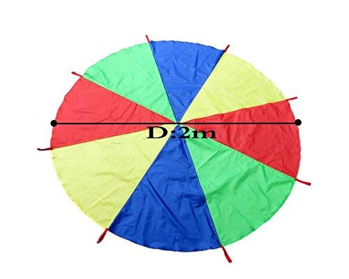 DSstyles Spielen Zelte Kinder Spiel 2 mt 6 Füße Regenbogen Spielen Fallschirm mit 8 Griffen für Outdoor-Spiel Übung Sport