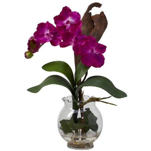 Vase Fluted (Nearly Natural 1276-BU Mini Vanda with Fluted Vase Silk Flower Arrangement, Beauty by Nearly Natural)