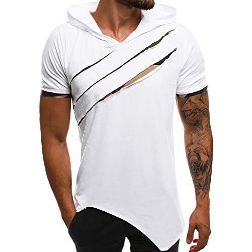 LILICAT Herren Casual Sweatshirt Top Herbst Kurzarm Fitness Hoodie Mit Kapuze T-Shirt Outwear Männlich Sommerhemd Outdoor Sport Tops Slim Fit Shirts - Hoodies Männliche