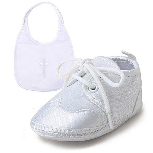 DELEBAO Baby Taufe Schuhe Taufschuhe Babyschuhe Turnschuhe Krabbelschuhe Weiche Sohle Weiße Schnüren für Mädchen Junge Kleinkind (Schuhe-3&Lätzchen1,0-6 Monate)
