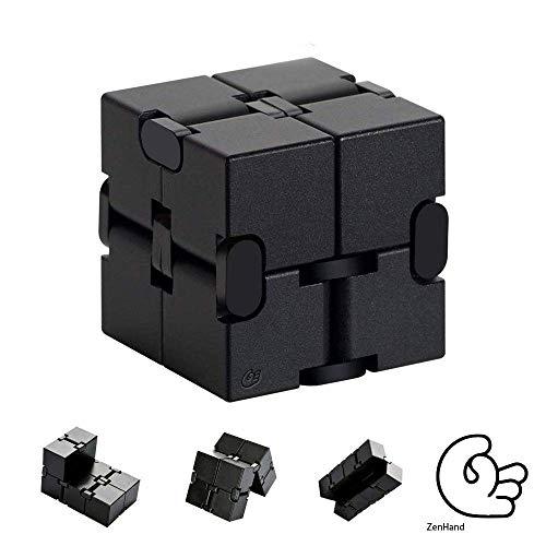 ZenHand Cube Infini Anti Stress - 3 Versions - Marque FR - Restez concentrez: Bureau, Maison, Transports - Adultes | Businessman | Enfants - Jouet | Gadget | Décoration - Noir - Métal