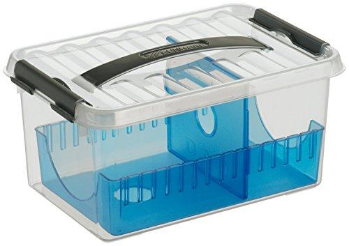 Preisvergleich Produktbild SUNWARE Q-Line CD Box + Einsatz - 6 Liter - 300 x 200 x 140mm - transparent/blau