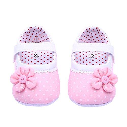 Zapatos de bebé,Xinantime Zapatos de las muchachas del verano Flor cuero de la PU (S, Rosa Claro)