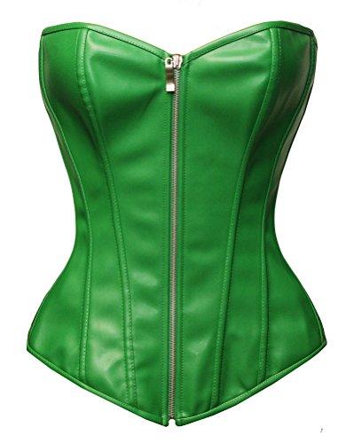 Bslingerie® Kunstleder Leder-Optik Reißverschluss Bustier Korsett Corsage (S, Grün) (Für Das Schwarze Korsett Halloween-kostüm)