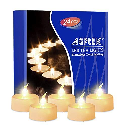 Agptek candele led lumini led 24 pz, tremolante candele senza fiamma led luce bianca calda,per decorazione di casa camera natale partito halloween matrimoni compleanno