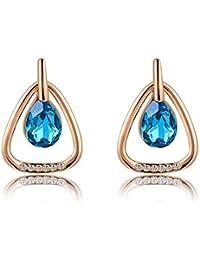 b8835209143c Villa Vivi joyas pendientes pendientes mujer Cristal Triángulo gota Rose  Oro Chapado en oro regalo azul