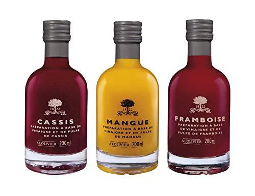 A l'Olivier - 3er-Set Fruchtessig - Essig mit Himbeere, Essig mit Mango, Essig mit schwarze Johannisbeere - 3 x 200 ml