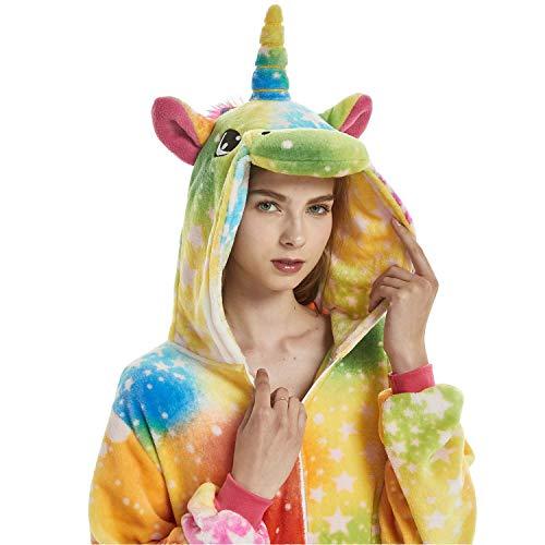 Einhorn Cosplay Kostüm Onesie Pyjamas Erwachsene Halloween Cosplay Kostüm (Farbe Einhorn, S(Höhe 147-157 cm)) ()
