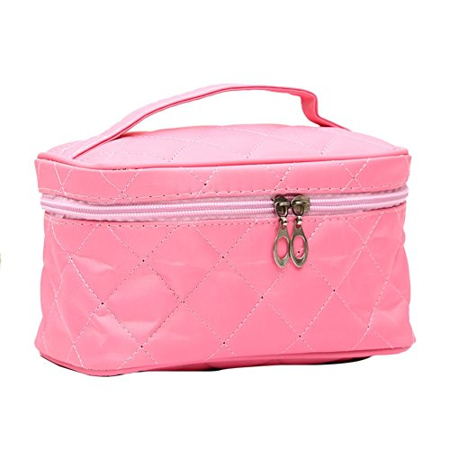 Tenflyer Fashion Lady Organizer Sac multi fonctionnel Cosmetic Stockage Sacs Femmes Maquillage Sac Insérer avec des poches Toiletry Pouch (Rose)