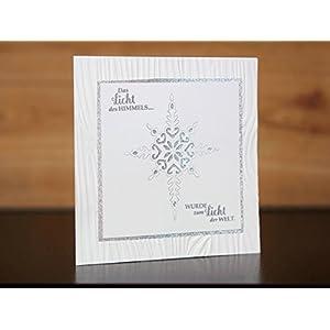 Weihnachtskarte groß 14,5x14,5 cm, silberner filigraner Stern, Licht des Himmels