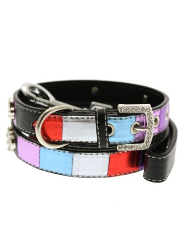 urbanpup-striped-metallic-diamante-paw-collar-lead-set-large-dog-neck-circumference-adjusts-14-to-18