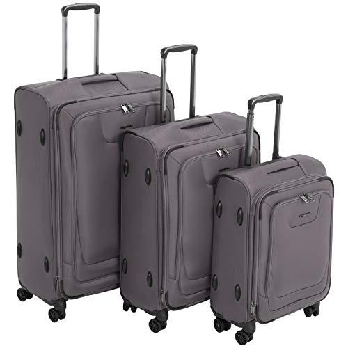 AmazonBasics, set di 3 valigie Premium, espandibili, morbide, con rotelle multidirezionali e chiusura con combinazione TSA, (53 cm, 64 cm, 74 cm), Grigio