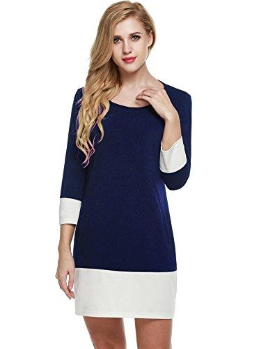 Farben Block Etuikleid 3/4 Ärmel Patchwork Herbst Kleid mit Seitentasche ()