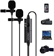 Dual Lavalier Microphones, MAONO AU200 Hands Free Clip-on Lapel Mic with Omnidirectional Condenser for Camera,