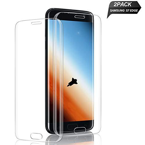 Aonsen Galaxy S7 Edge Panzerglas Schutzfolie, [2 Stück] Full Cover Gehärtetem Glas Bildschirmschutzfolie für Samsung Galaxy S7 Edge, Blasefrei, 9H Härtegrad, Anti-Kratzer (Transparent)