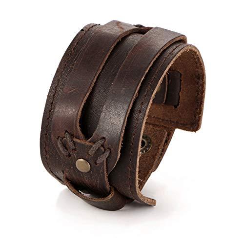 Daawqee Bracciali Fashion Men Leather Bracelet Open Cuff Rope Bangles & Bracelet Double Wide Black Brown Color Vintage Punk Unisex Jewelry BJDY46870