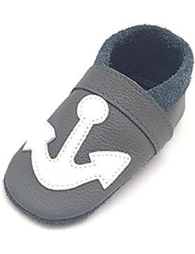 little foot company® 792 Krabbelschuhe Babyschuhe Lauflernschuhe Anker weiches Leder steingrau