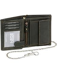 Biker Portefeuille pour homme et femme avec la chaîne chrome Vintage-Style format portrait LEAS MCL, cuir véritable, noir - ''LEAS Chain-Series''