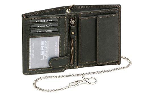 Bikerkombibörse im Hochformat mit Chrom-Kette LEAS MCL im Vintage-Stil in Echt-Leder, schwarz - ''LEAS Chain-Series''