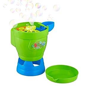 Relaxdays- Máquina Burbujas Embudo, Plástico, Verde-Azul, 18 x 17,5 x 14,5 cm, Color (10024942)