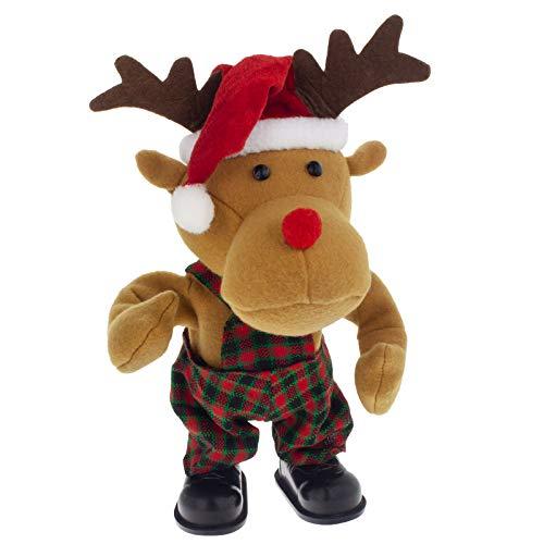 Smartfox Singendes tanzendes Rentier Reindeer Elch REH Red Nose Weihnachts Dekoration Figur mit Musik - 30cm
