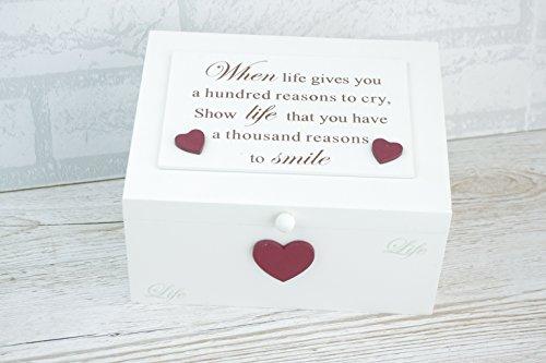Global Designs Memory Box Andenken Brust When Life Gives Ihr A Hundred Gründen zu Weinen F1886 (Möbel-andenken-kasten)